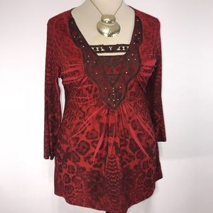 One World Live & Let Live Leopard Lace Tunic Top